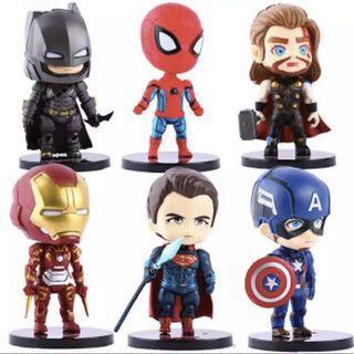 Avengers Superhero Figurines Fondant Cake Topper (6 Figures in 1 Set)