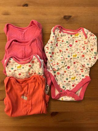 Mothercare onesie long sleeve x 5 (up to 3 months)