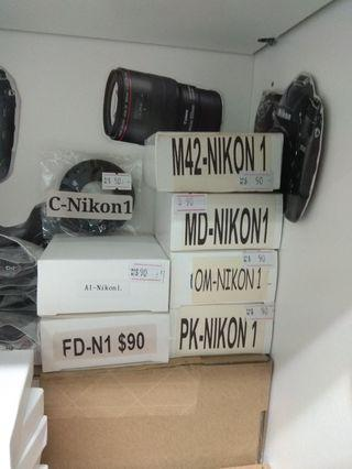 Adaptor for Nikon1 camera 金屬相機鏡頭接環