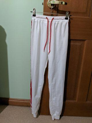 White and Red Stripe Tracksuit Pants