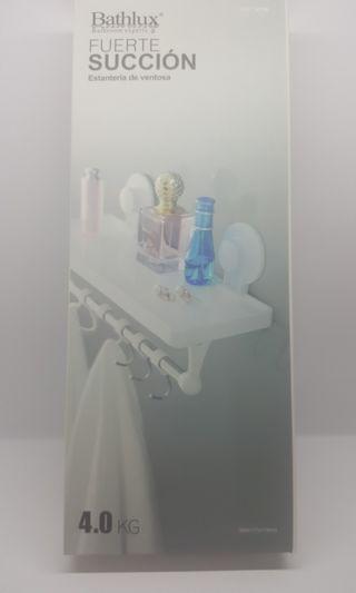 Bathroom Stick-On Shelf with hooks
