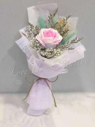 Artificial Soap Rose with Dried Flower Bouquet/ Birthday Flower Bouquet/ Graduation Flower Bouquet 💐