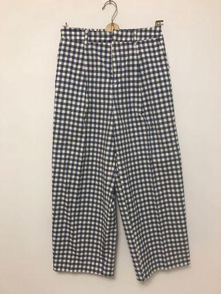 🚚 降價-日本製藍色格紋寬褲