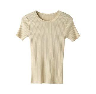 🚚 羅紋 針織 修身短袖T恤 素面T恤 短T 短袖上衣