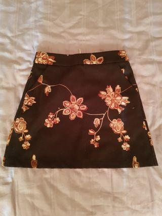 BRAND NEW WITH TAG Black Floral Mini Skirt
