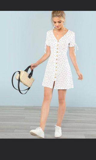 🚚 Polka dots drawstring button up dress