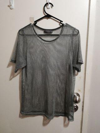 EVERYTHING $3!! Silver mesh top