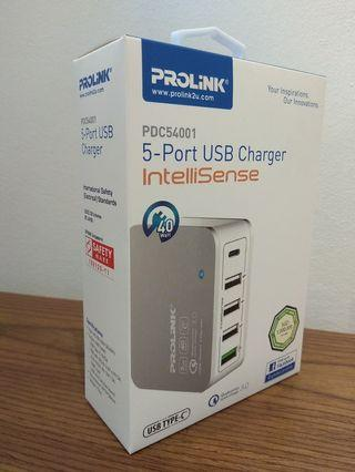 Prolink PDC 54001 40W 5 Port USB Charger with IntelliSense