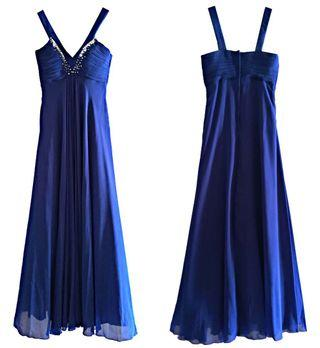Electric Blue Evening Gown Polyester Cotton Size M