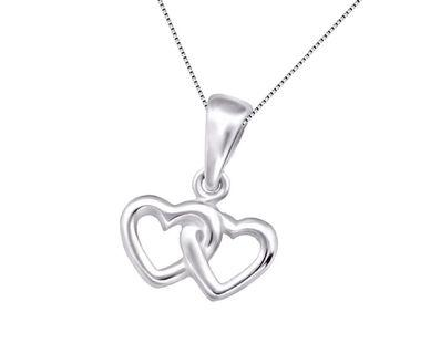 🚚 925 Sterling Silver Double Heart Necklace