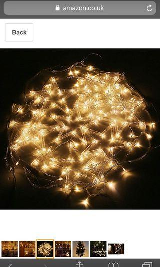 (2843) Amzdeal Star Curtain Lights, 12 Stars 138pcs LED, 8 Modes Window Curtain Lights, Fairy Lights for Wedding/Party/Garden Decorations(Warm White)