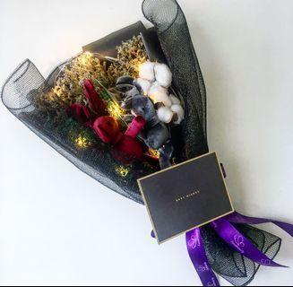 🚚 Dried Flower Bouquet / teacher's day bouquet/ black lace flower bouquet / fresh flower / happy birthday / wedding anniversary / graduation flower / Father's Day gift / present