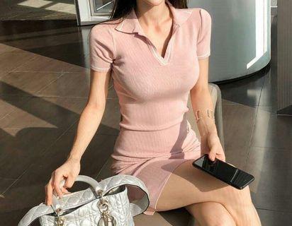 🚚 FS16003# 性感修身簡約針織冰絲包臀連衣裙