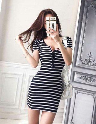 🚚 FS15985# 性感氣質顯瘦條紋連衣裙