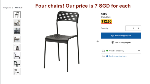 🚚 IKEA chair, gray
