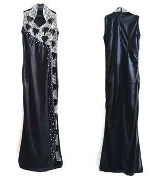 Sleeveless Sequenced Black Suede Size M/L