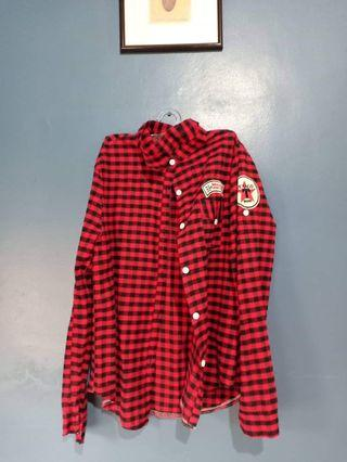 PLAID/ RED CHECKERED FLANNEL POLO