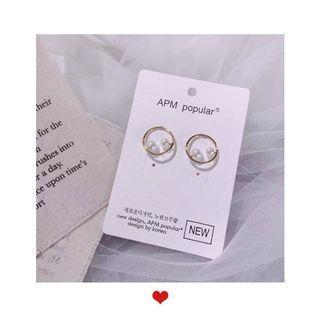 韓國耳環珍珠圓圈耳環(925)