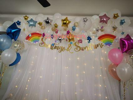 Twinkle twinkle star balloon garlands with rainbow design 🌈