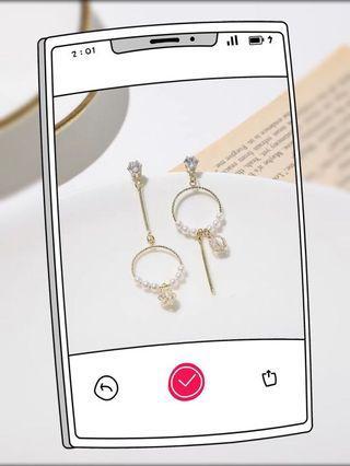 水晶圓圈珍珠耳環(925)