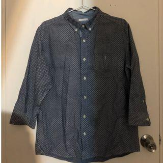 純棉 灰藍 點點 襯衫