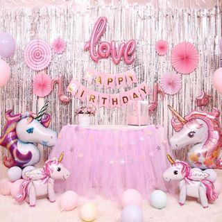 Unicorn Party backdrop and balloons #01006