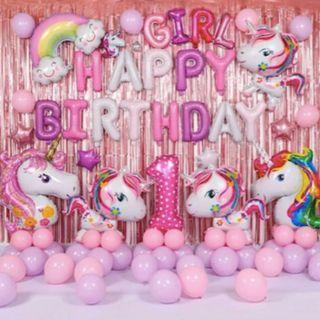 Unicorn Pink Party Balloon and Backdrop #01010