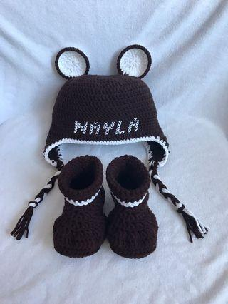 Crochet Personalised Baby Bear Hat and Shoes Set