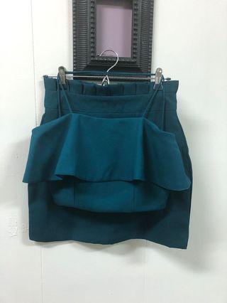 🚚 Set top crop+裙褲 綠色 size S