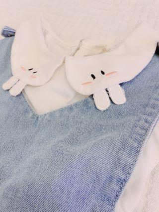 Preloved Cute rabbit design collar with denim jumper dress