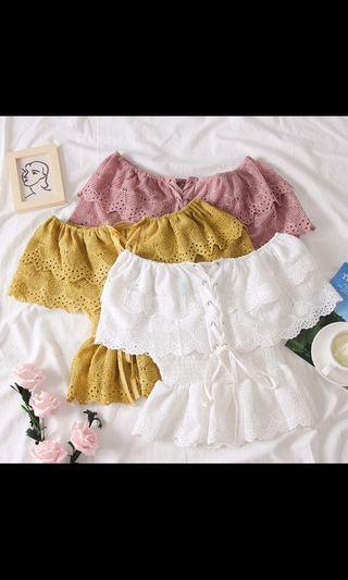 Korean off shoulder lace top in pink