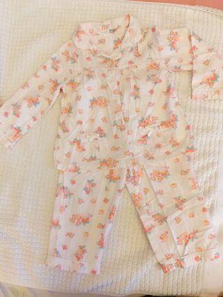 Preloved John Lewis Baby girl flower pajamas set