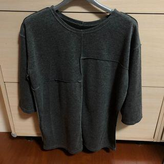 🚚 設計感灰色長版上衣 oversize