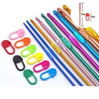 9pcs metal crotchet knitting needles set