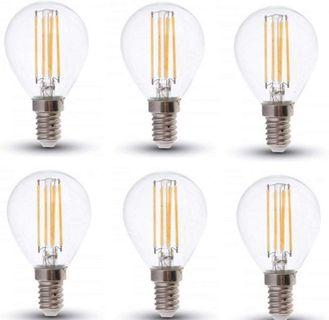 (2857) LED Filament P45 Bulbs - PACK OF 6 - E14 / SES / Small Edison Screw - 4w - Warm White 2700K / Glass Finish