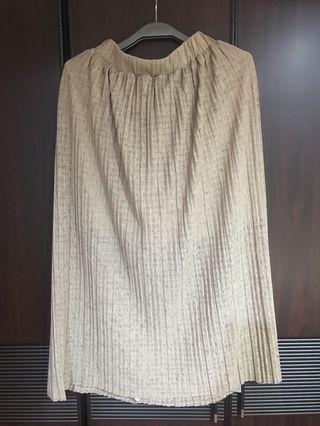 🚚 奶茶色褐色鬆緊褲頭長裙