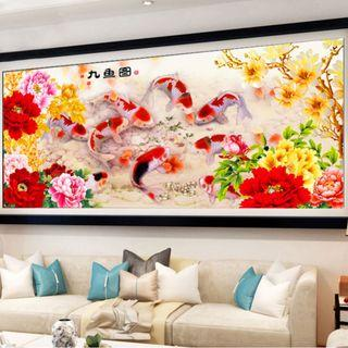 DIY [Koi Fish] Full 5D Diamonds Painting / Diamond Mosaic (Canvas Size: 120x50cm)