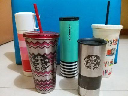 Preloved Starbucks Tumbler, Kate Spade Tumbler and Thermos