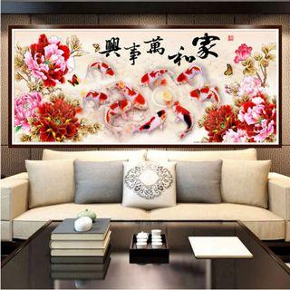 DIY [Koi Fish] Full 5D Rhinestones Painting (Canvas Size: 120x50cm)