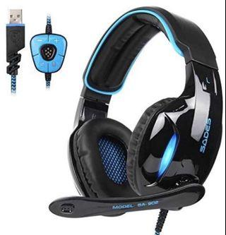 (2859) SADES SA902 7.1 USB Surround Sound PC Headsets Over-Ear Gaming Headphones with Microphone LED Light