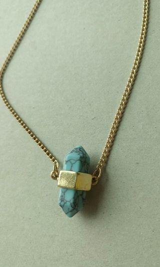 Turquoise green blue stone necklace 海藍綠石頸鏈