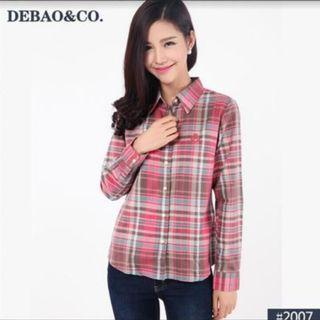 Checker shirt for girl (pink / XL  - b&w / L)