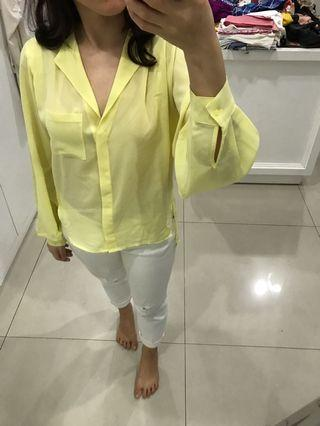 H & M balooned sleeve yellow top
