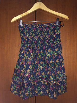 FOREVER 21 navy floral tube top