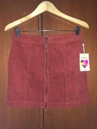 FOREVER 21 terracotta corduroy mini skirt