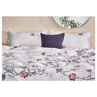 IKEA JÄTTELILJA Quilt cover and 4 pillowcases, white, floral patterned, 240x220/50x80 cm