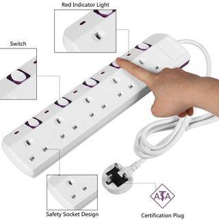 (2861) TISDLIP Power Strip Extension Socket Surge Protection 5 Way 6.56FT/2M Cord White