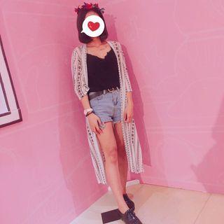 🚚 夏日民俗圖騰開衩長版罩衫
