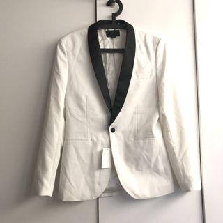 h&m premium white tuxedo blazer jacket
