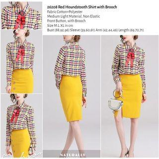 WST 26208 Red Houndstooth Shirt with Brooch
